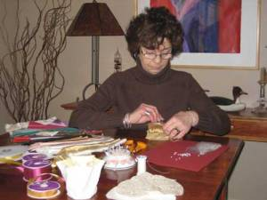 Flo working at home on her beautiful creations
